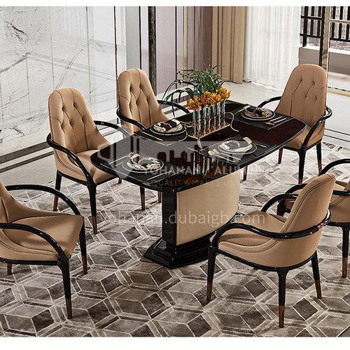 BJ-M2 Living room high-end post-modern light luxury rectangular dining table + board wood + soft matte technology leather