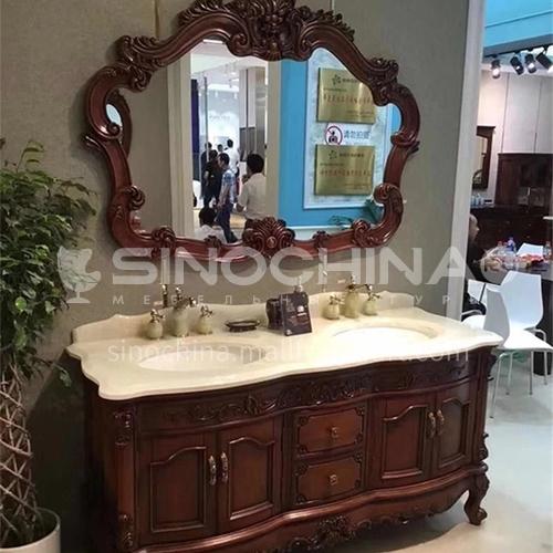 European style red oak bathroom cabinet antique solid wood bathroom cabinet O0099-Empire