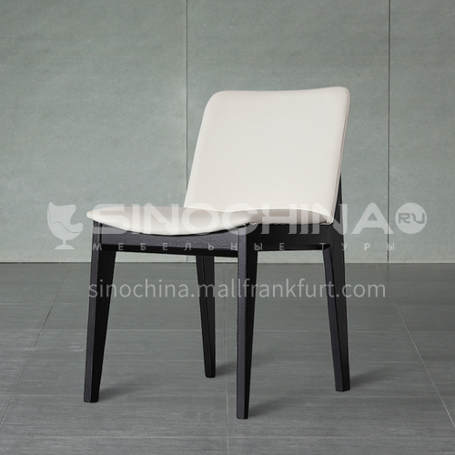 CL-B017-Living room ash solid wood, PU leather, high density sponge lounge chair