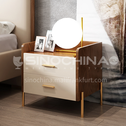 CL-GT105- Nordic minimalist style, high density board, piano paint, stainless steel gilded, Nordic minimalist bedside table