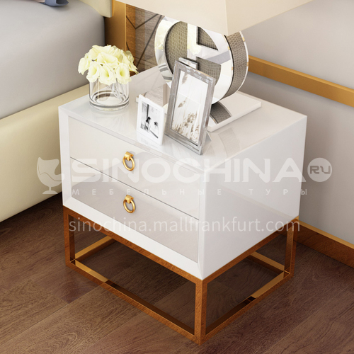 CL-GT404- Simple and light luxury style, stainless steel gilded, piano paint, solid wood drawers, light luxury bedside table