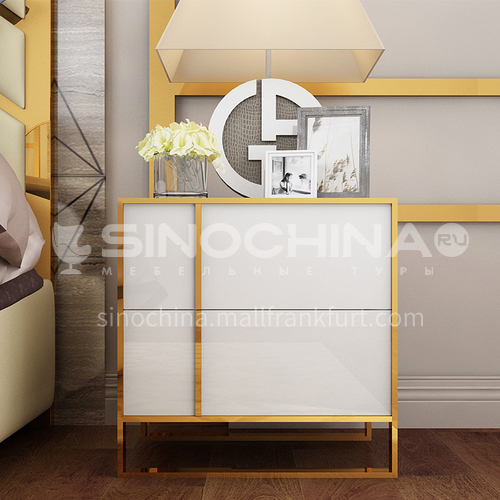 CL-GT407- Fashion light luxury style, stainless steel gilded, piano paint, solid wood drawers, light luxury bedside table