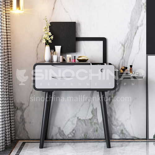 CL-TZ111- Nordic minimalist style, high density board, piano paint, ash wood feet, high-definition mercury mirror, simple dressing table