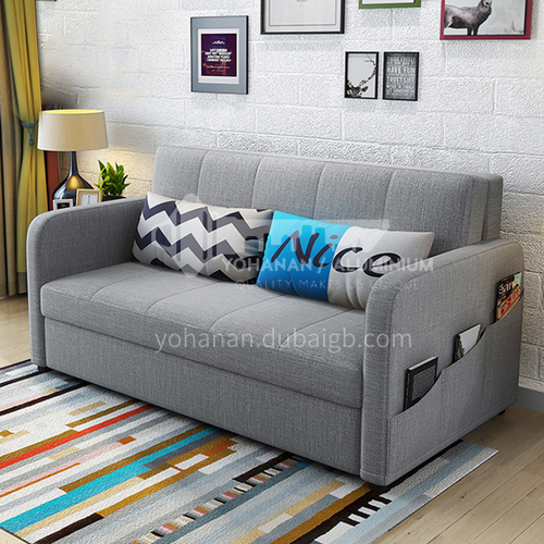 YT-YT-182 Living room Nordic modern leisure foldable sofa bed Multifunctional modern fabric sliding dual-use + multiple color options + multiple sizes + two material options