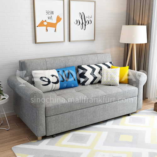 YT-186 Living room Nordic modern leisure foldable sofa bed Multifunctional modern fabric sliding dual-purpose + multiple color options + multiple size options + two material options