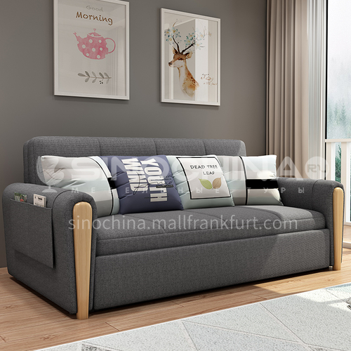 YT-802 customer Nordic modern and simple sleepable sofa bed + multifunctional foldable sitting and sleeping dual purpose + inner frame full iron frame + two material options
