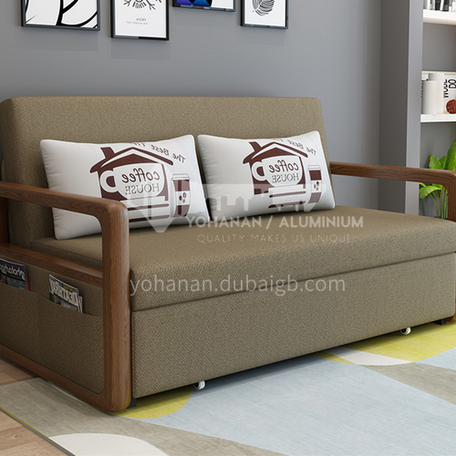 YT-6098 Living room Nordic modern leisure foldable fabric sofa bed + push-pull dual purpose + multiple color options + multiple size options, one of the practical choices for home