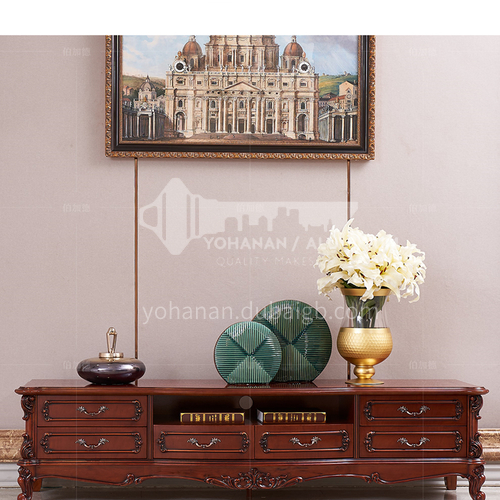 BJ-CB14-Living room Jane European and American style marble Thai oak Jane European style solid wood carved TV cabinet