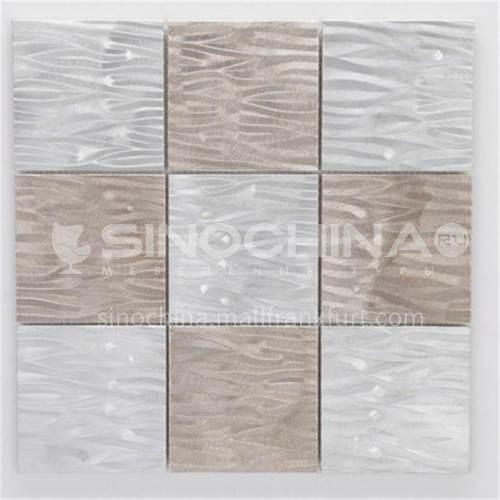 Aluminum Big Square Shape Vibration Metal Mosaic (grey+silver)