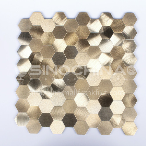 Aluminum Gold Hexagon Shape Metal Mosaic