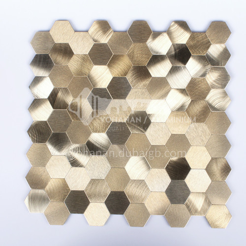 Aluminum Gold Hexagon Shape Metal Mosaic