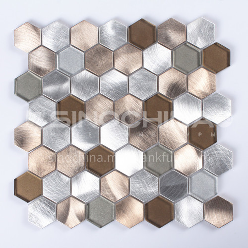 Aluminum+Glass Hexagon Shaped Metal Mosaic ( champagne gold+ Silver )