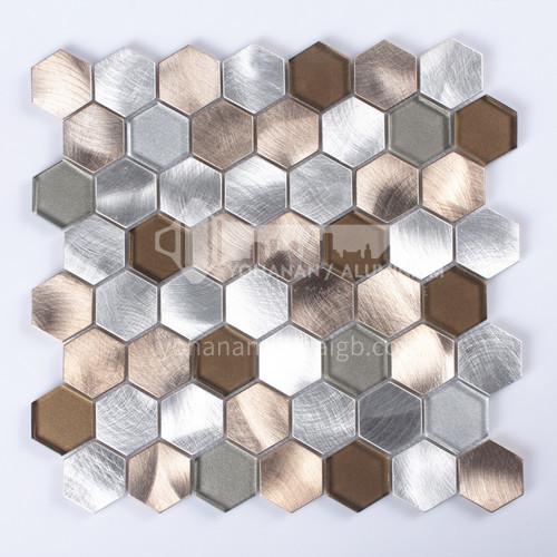 Aluminum+Glass Hexagon Shaped Metal Mosaic ( champagne gold+ Silver )