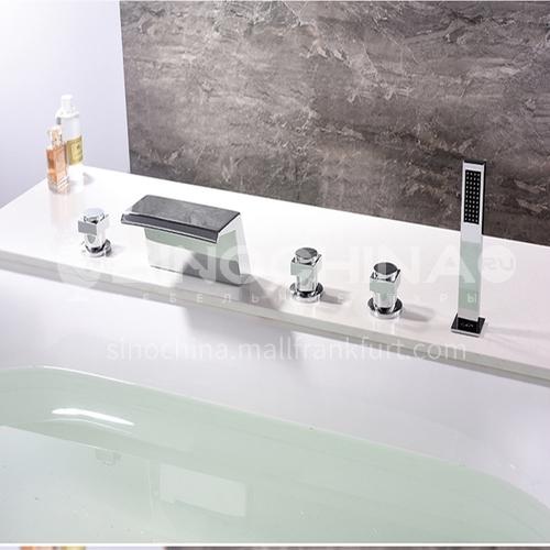 Bathroom brass hot and cold bathtub shower faucet shower head precision casting five-piece set