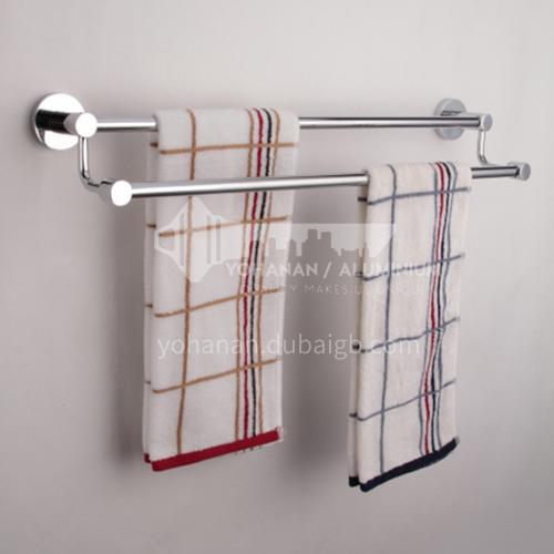 Bathroom silver stainless steel twin rod towel rack