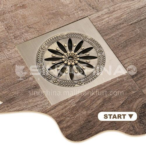 ניקוז רצפה מרובע מרובע נחושת זהוב 10 * 10