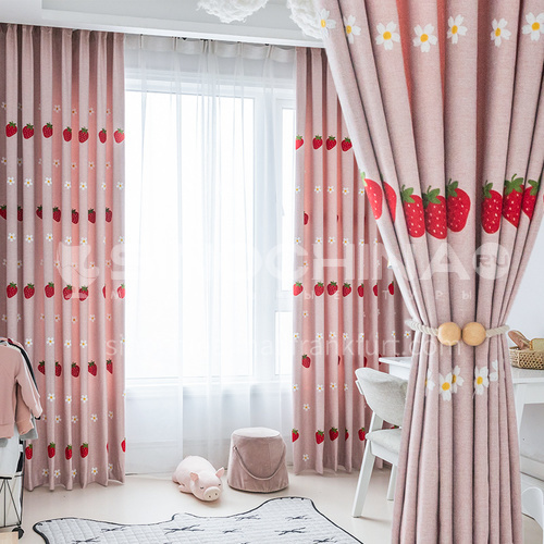 2021 Simple and warm pink strawberry children's room curtain DFSK-CM42