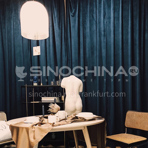 Curtain bedroom shading pure color velvet 2020 new shade blue curtain cloth living room flannel simple modern DFSK-CSSR53