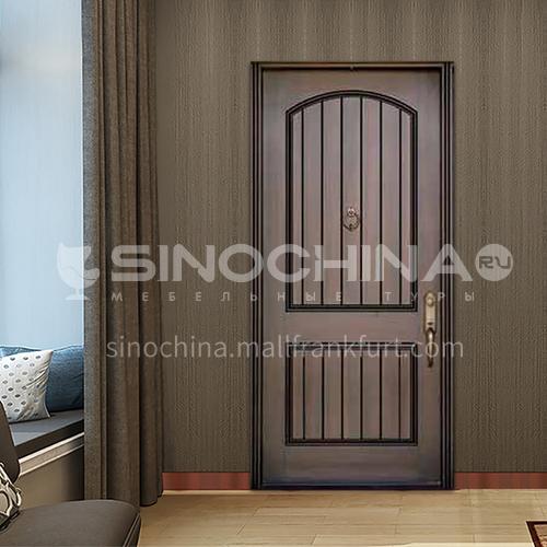 B modern popular room door walnut natural solid wood door villa interior door 14