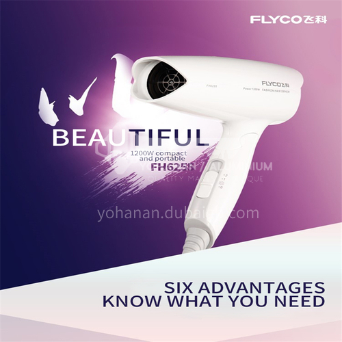 FLYCO mini hair dryer student dormitory low-power cold and hot wind does not hurt hair foldable hair dryer household 1200W DQ000025
