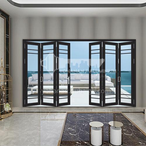 B 2.0mm aluminum alloy double-layer tempered clear glass imported accessories folding door lattice strip decorative balcony door villa door