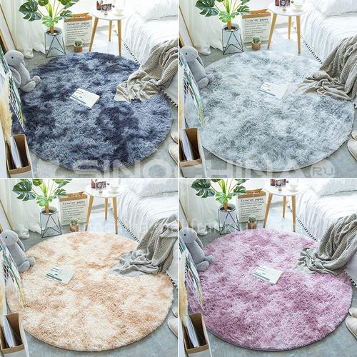 Plush carpet bedroom bedside rug simple living room window decoration Nordic round carpet silk LD-05