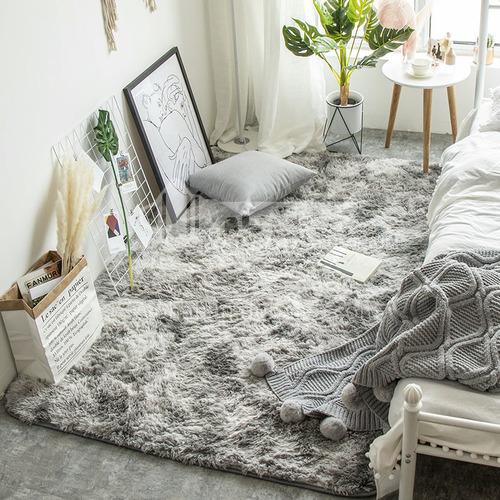 Plush carpet bedroom bedside rug simple living room window decoration Nordic long pile carpet HLD-19-03