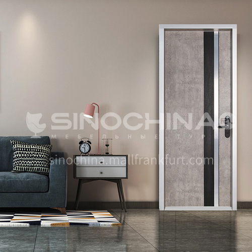 Ecological wear-resistant plate Aosta gray aluminum wooden door