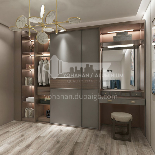 Modern style simple design sliding door PVC WITH HDF kitchen wardrobe GW-199