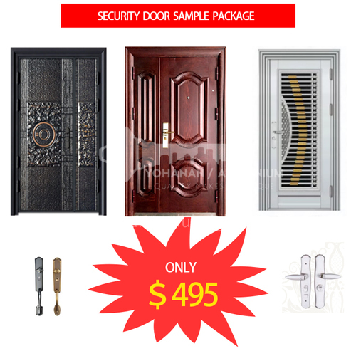 3 Set different materials security door high end sample package