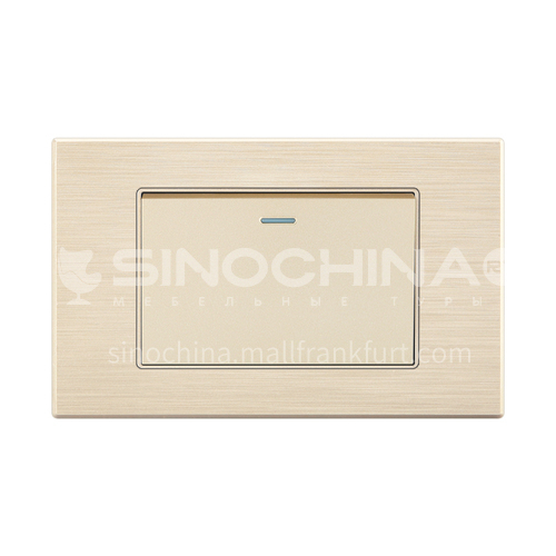 118 type switch socket panel wall power supply PC gold wire drawing switch socket-LY-KQ gold