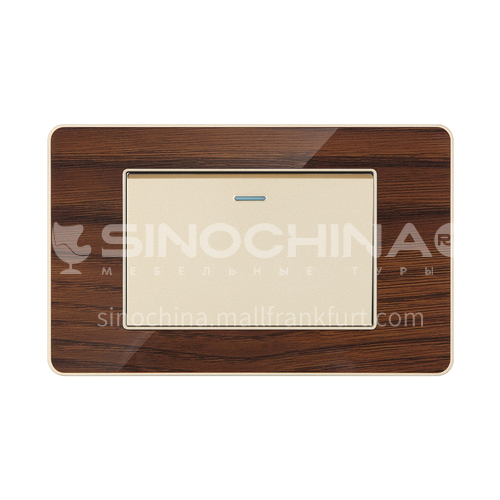Acrylic Wood Grain Series Hotel Project Home Decoration Modern Switch Socket LY-L17 Acrylic Wood Grain Series C