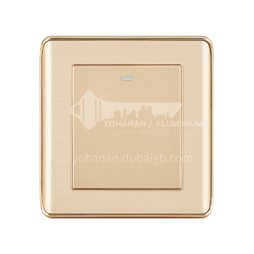 Golden aluminum wire drawing series concealed switch 86 type wire drawing five-hole socket panel gold-A2-C aluminum gold