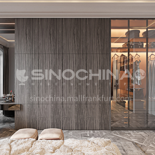 Customized style wardrobe with tempered glass door closet GW-439