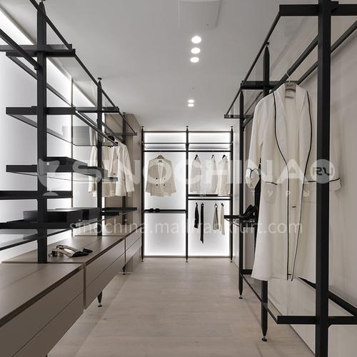 Minimalist style wardrobe, glass shelf, open cloakroom GW-452