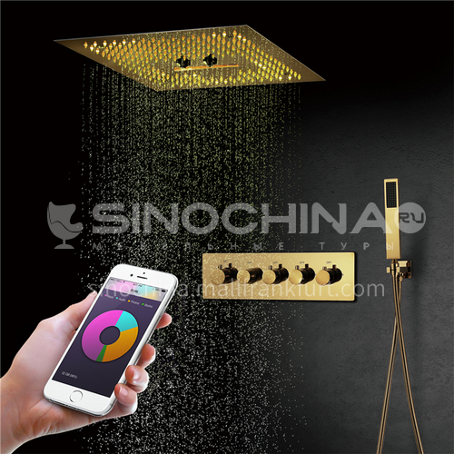 Home shower set gold mobile phone control 4+1B