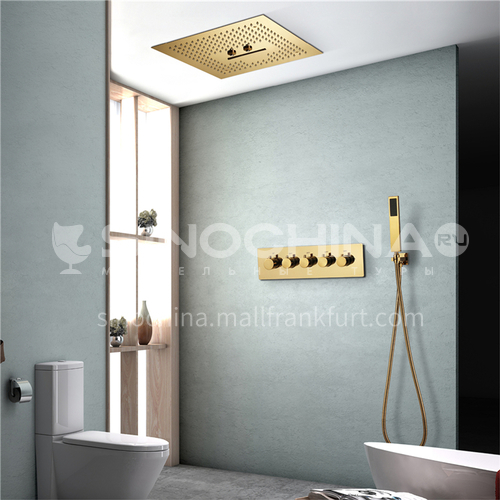 Household shower set gold without light 4+1D