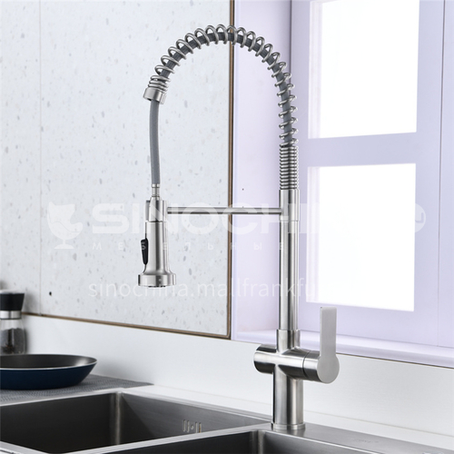 American SUS304 stainless steel kitchen faucet spring pull hot and cold water tank faucet single hole cross body XJ2061