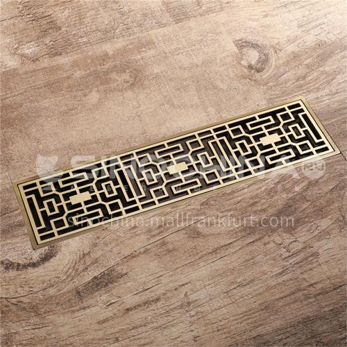 80*300mm copper floor drain, large flow, deodorant, insect-proof and anti-reflective green bronze rectangular bathroom antique floor drain factory direct sales HIDL083