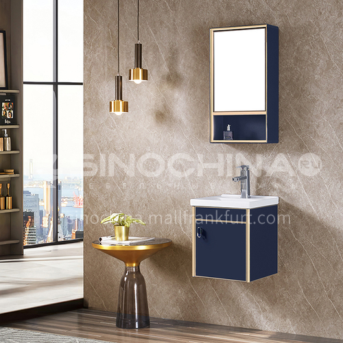 Bathroom Stainless steel bathroom cabinet combination Small apartment wash basin Light luxury wall cabinet WXD-8008