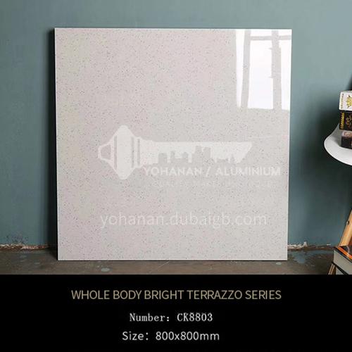 Full-body tiles, bright terrazzo living room floor tiles, wear-resistant blue   particle floor tiles-ADECK8803 800x800mm