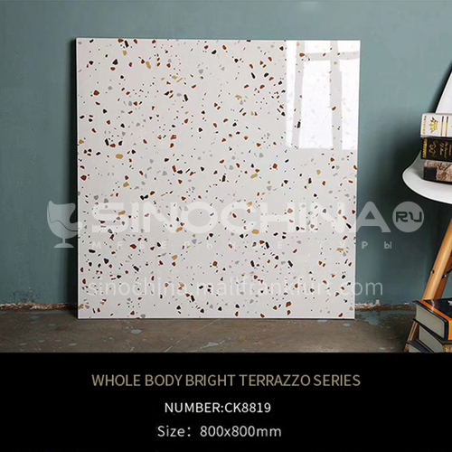 Full-body tiles, bright terrazzo living room floor tiles, wear-resistant blue   particle floor tiles-ADECK8819 800x800mm