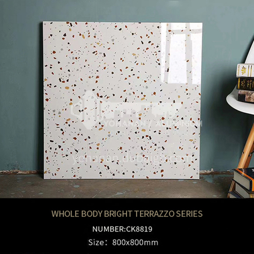 Full-body tiles, bright terrazzo living room floor tiles, wear-resistant blue   particle floor tiles-ADECK8819 800x800mm