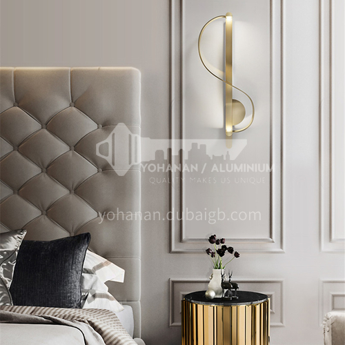 American simple modern S-shaped living room decoration wall lamp hotel corridor study designer model room art lamp YDH-7051