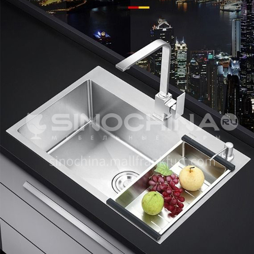 304 stainless steel kitchen double sink with drain basket WJW-11