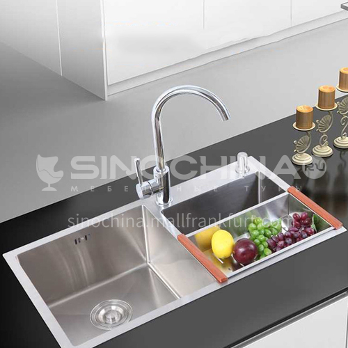 201 stainless steel wire drawing double sink with drain basket WJW-13