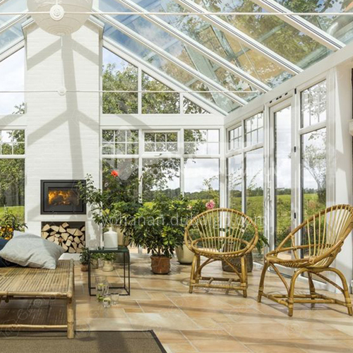 new design green house aluminium tempered coated glass house sunroom