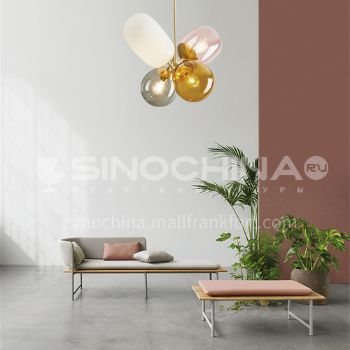 All copper modern glass balloon simple children's room lamp romantic bedroom lamp personalized restaurant study chandelier YDH-9016