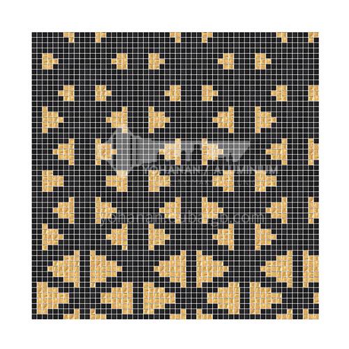 Nordic black gold glass mosaic mosaic tiles bathroom balcony mosaic background wall tiles-ST pyramid 300×300mm