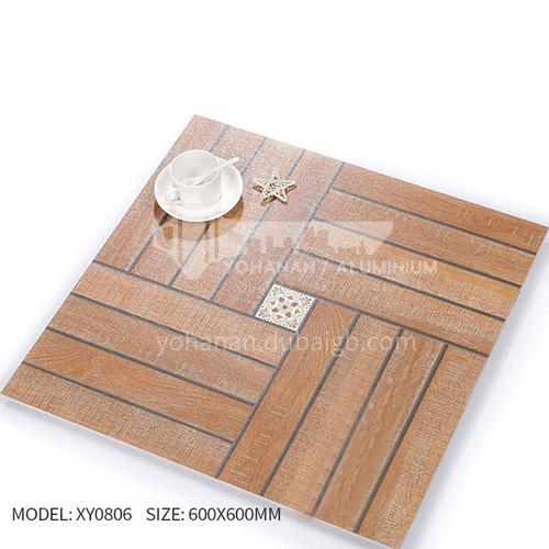 American ceramic tile, retro mold, antique wood grain tile, villa courtyard bumpy non-slip floor   tile-AWMXY0806 600×600mm
